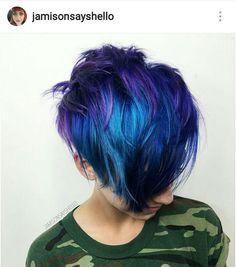 Blue And Purple Long Layered Pixie frisuren frauen frisuren männer hair hair styles hair women Pixie Hair Color, Cool Hair Color, Hair Colors, Pixie Hairstyles, Cool Hairstyles, Pixie Haircuts, Bold Haircuts, Scene Hairstyles, Toddler Hairstyles
