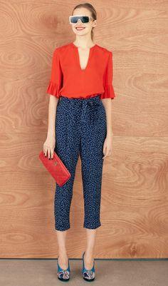 Karen Walker. Coral Peplum Sleeve Top + Navy Dotted High Waisted Crop Pant