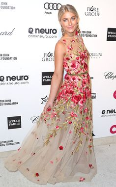 Julianne Hough from Stars at 2015 Oscars Viewing & After-Parties  Spring's come early! Or so the star's delicate Naeem Khan dress would have us think.