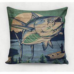 Almofada decorativa em tecido estampado - OLD FISH – 45cm X 45cm