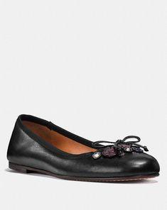 cc0109bc73 Coach Womens Lola Appliqué Tea Rose black Ballet Flat shoe US 9 G1019   Coach