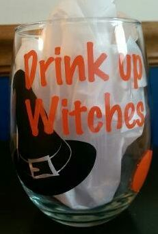 "Wine Glass ""Drink Up Witches"" $12.000 kayla.expresscreations@gmail.com https://www.facebook.com/expresscreations"