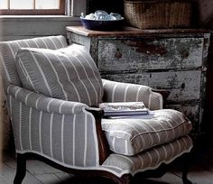 grey and white stripe upholstery