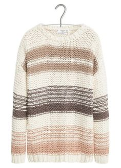 Pull en maille rayé Blanc by MANGO