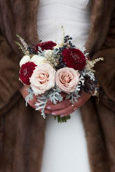 Winter Wedding Bouquets With Reds, Pinks & Burgundies