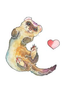 Ferret Love  5x7 Archival Watercolor Print by EScheborIllustration, $10.00