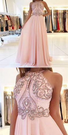 61445e5a66eb Backless Cute Pink Beaded Long Chiffon Prom Dresses, Hottest Long Prom  Party Dresses #PromDresses