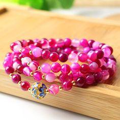 108 Natural Beads Mala Rosary 6mm Rose Striped Bracelet Gold Color Flower Ball Bracelet