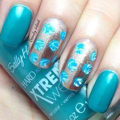 Rose nails #sallyhansen #blue #silver #nailart - Go to bellashoot.com or #beautyapp for beauty inspiration!