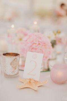Starfish Table Number // Pink Beach Wedding // Wedding Chicks