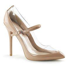 Pleaser Amuse-21 sexy High Heels Riemchen Pumps Transparent Lack Beige Creme 35-43 Übergröße - http://on-line-kaufen.de/pleaser/pleaser-amuse-21-sexy-high-heels-riemchen-pumps-35