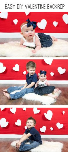 "Love this photo backdrop idea simply because they have the sheep skin on the ""floor"" someday I'll have one from my brothers farm out on mine ❤️ Valentines Bricolage, Diy Valentines Cards, Valentines Day Photos, Valentine Picture, Little Valentine, Valentines For Kids, Valentine Backdrop, Valentine Decorations, Diy Photo Backdrop"