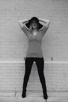 black and white, fashion photography, black hat, scuba pants, black booties
