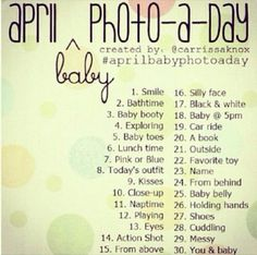 * SPECIAL* Baby photo a day or photo checklist Photography Challenge, Photography Lessons, Photoshop Photography, Photography Portfolio, April Photo Challenge, Monthly Challenge, Newborn Photos, Baby Photos, Photo Challenges