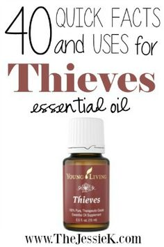 Uses for Thieves Essential Oil plus links to info about other oils. She also has infographics for oils she uses in her daily routines.