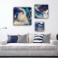 """Neptune's home"", Triptych. Resin on Canvas.""Neptun's zuhause"", Resin auf Leinwand. Triptychon. Dank @wallpictureapp im Raum zu sehen. Resin Art, All Art, Throw Pillows, Canvas, Instagram, Artist, Color, Triptych, Ad Home"