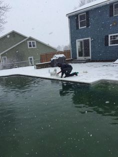 Opening up pools in the snow!  Only in #maine