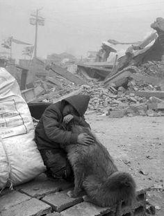 Child & dog. Earthquake April 2010, Qinghai province, Northern Tibet region.