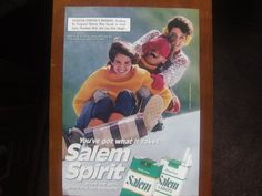 Vintage Magazine Ad Salem cigarettes  This is a must have for any classic memorabilia collector. Vintage magazine ads and articles are perfect for being framed & hung with pride on the garage wall, & also look fantastic in an office or den/game room. These are also great in-expensive gift ideas only $2.99