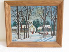VTG PRIMITIVE NAIVE OIL BOARD PAINTING CHRISTMAS EVE NEW ENGLAND WINTER HORSE #NaivePrimitive