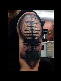 Ship tattoo by Audrey Mello