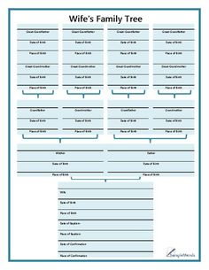 This wife's family tree chart is useful when documenting any female family member or wife's genealogy. This bible-style form starts with the female's personal information at the bottom of the page, including both the date…
