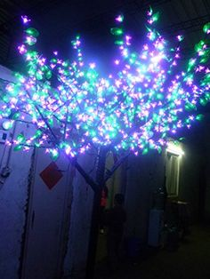 Amazon.com - 1, 152pcs LEDs 6.5ft Height Cherry Blossom Tree Light Pink Cherry Blossom Flower + Green Leafs Outdoor Decoration Holiday Decoration Home Decoration Light LED Christmas Tree Light Rainproof -