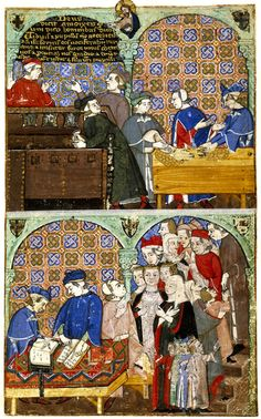 Women in a counting house, Add. 27695 f.8r, c.1400