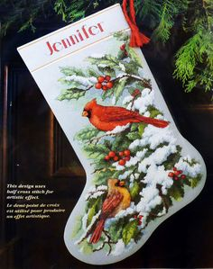 Dimensions EARLY SNOW CARDINALS STOCKING 16'' Christmas Counted Cross Stitch Kit | eBay