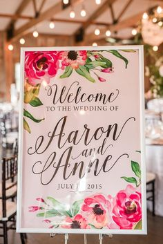 Watercolor Floral Print Wedding Signs | Audrey Rose Photography | http://heyweddinglady.com/playful-elegant-southern-blush-wedding-floral-print/