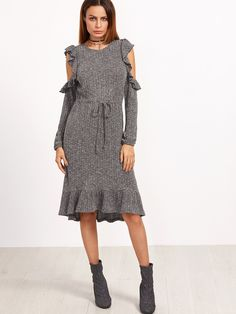 24$  Buy now - http://di4u8.justgood.pw/go.php?t=15024 - Grey Marled Open Shoulder Drawstring Waist Ruffle Dress