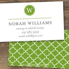 Business Card - Quatrefoil Monogram - Pretty with a Pattern - Printable Calling Cards, Custom Packaging, Quatrefoil, Front Design, Name Cards, Letterhead, Repeating Patterns, As You Like, Your Cards