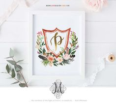 Instant Download Watercolor Crest with Floral Wreath Letter P Printable Wall Art Baby Initial Art Floral Alphabet Art Wedding Monogram Logo