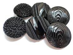Grandi bottoni in vetro Vintage 1940s - 6 alta moda nero 1.1/8 pollici 27mm per gioielli forniture perline cucito maglieria