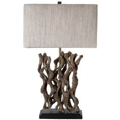 Journee Home 'Arcadian' 27.5 in. Rectangle Shade Driftwood Table Lamp