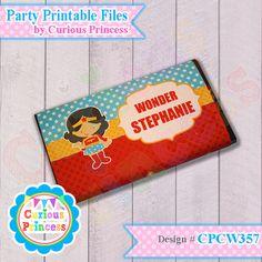 wonder Superhero girl Printable party favor by CuriousPrincess1, $8.99 woman girly birthday printables baby shower ideas