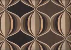 Tapete Retro Bubbles col.03 | Retro Tapeten in den Farben cappuccino - schwarz - gold | Grundton braun
