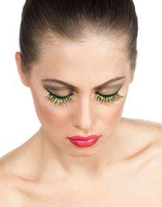 funly fake eyelashes   Pixie Green And Gold Eyelashes - Fake Eyelashes