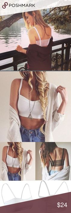 JUST IN Caged Back Bralette/Crop Top Beautiful caged back bralette or Crop top! In a soft white. Perfect for low back tops! Make an offer! Tops