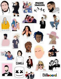top musical artists stickers according to billboard singers musicians musical artist sticker pack billboard hot 100 famo Meme Stickers, Tumblr Stickers, Phone Stickers, Cool Stickers, Printable Stickers, In Der Disco, Panic! At The Disco, Aesthetic Phone Case, Aesthetic Stickers