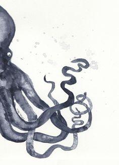 « Octopus » par Nathy Illustration | #Animaux #Pieuvres #Artpourenfants #Animauxsous-marins #Blanc #Bleu #JUNIQE | Plus daffiches sur www.juniqe.fr Octopus, Scary Wallpaper, Fresco, Illustration, Arabic Calligraphy, Poster, Kid Friendly Art, Watercolor Painting, Event Posters