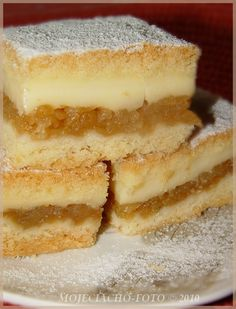 Polish Apple Cake with pudding filling Healthy Apple Cake, Vegan Apple Cake, Easy Apple Cake, Fresh Apple Cake, Apple Cake Recipes, Baking Recipes, Polish Desserts, Polish Recipes, No Bake Desserts