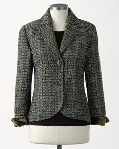 Velvet cuff tweed jacket, Coldwater Creek
