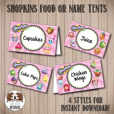 Shopkins Food or Name Tents. Instant Download. by TwoBearsDesigns
