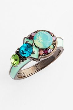 Cara Accessories | Cara 'Thin Crystal' Enameled Ring | Nordstrom Rack