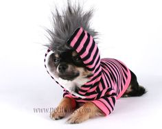Dog Clothes LARGE Pink and black stripe girly Mohawk Hoodie sz L