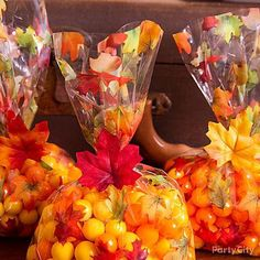 Who doesn't love a leaf pile during the Fall? They're even better as favors! Fill up Fall Leaves Party Bags with Yellow & Orange Sixlets then seal with a piece of Leaf Garland! Educational Activities For Kids, Table Confetti, Autumn Decorating, Leaf Garland, Baking Cups, Party Bags, Chocolate Flavors, Autumn Inspiration, Decor Crafts