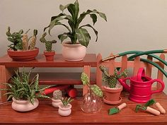 Dollhouse Miniature Potting Table by 2015 IGMA Fellow Carolyn Mohler Kraft