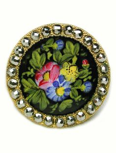 Antique French Enamel Button Hand Painted Flowers Design w/ Cut Steel Border Button Art, Button Crafts, Hijab Pins, Vintage Buttons, Covered Buttons, French Antiques, Flower Designs, My Etsy Shop, Hand Painted