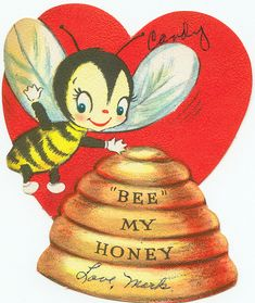 "Vintage ""Bee My Honey"" Valentine Valentine Images, My Funny Valentine, Vintage Valentine Cards, Valentine Day Love, Vintage Greeting Cards, Vintage Holiday, Valentine Day Cards, Vintage Postcards, Valentine Stuff"